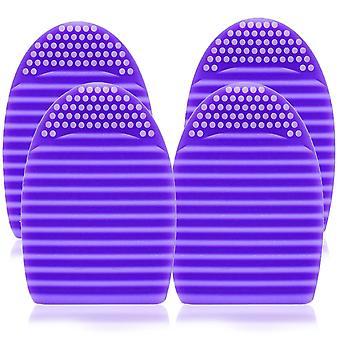4x Envie Silicone Egg Sponge Scrubber Make-Up Brush Cleaner - Purple