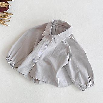 Spring Baby,, Solid Blouses, Loose All-match, Long Sleeve T Shirt Tops,