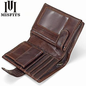 Misfits vintage män plånbok äkta läder korta plånböcker manliga multifunktionella kohud manliga handväska mynt ficka fotokort hållare