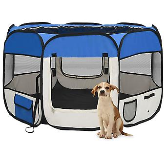 vidaXL Foldable puppy stall with carrying bag Blue 110x110x58 cm