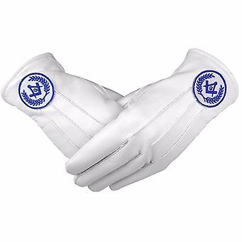Regalías masónicas guantes de cuero blancos y suaves brújula cuadrada y brújula g azul