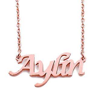 KL Aylin - Kaulakoru custom nimi, päällystetty 18 karaatti ruusu kultaa, säädettävä ketju 16 - 19 cm
