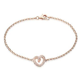 Eye Candy, Sterling 925 silver women's bracelet, rose gold plated, with heart-shaped pendant with 54 Ref zirconia stones. 4045425028174