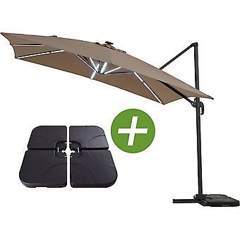 """Parasol de jardin LED Alu """"Sun 4 Luxe"""" - Rectangular - 3 x 4 m - Topo - Lastres incluidos"""