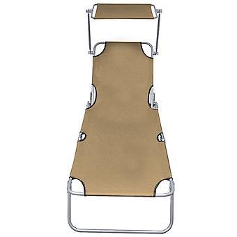 vidaXL sofá plegable con protección solar Taupe Aluminio