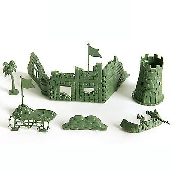 New 7pcs Warfare Ruins Tower Fence Military Figures For Kids Green ES12787