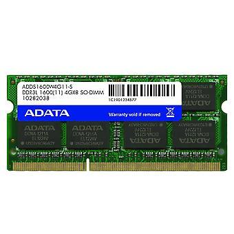 ADATA 4GB Premier, DDR3L, 1600 MHz (PC3-12800), CL11 memoria SODIMM * baja tensión 1.35V*