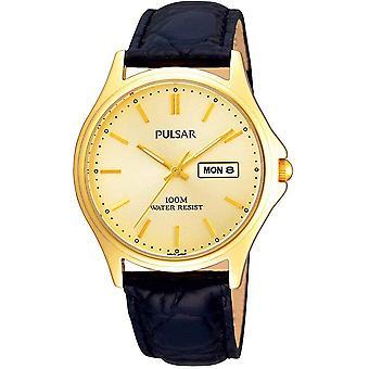 Pulsar PXF296X1 Homme Plaqué Champagne Cadran Classique Cuir Bracelet Montre