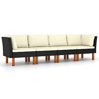 vidaXL 4-seater garden sofa with cushion Black Poly Rattan