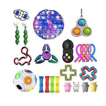 23pcs Push Pop Bubble Rainbow Plastic Fidget Toy Stress Reliefrs Set
