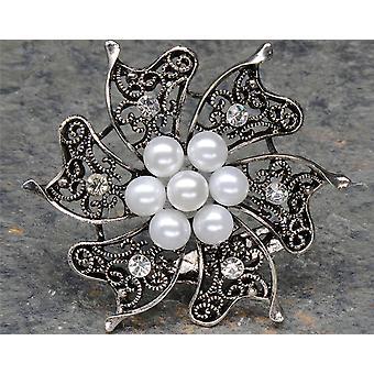 LAST FEW - Vintage Zilveren Broche met Parels &Diamanté voor Ambachten