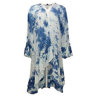 Tolani Collection Swimsuit Tie-Die Tassel Sleeve Cover-Up Blue A377651