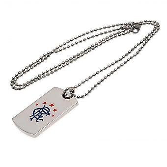Rangers FC Colour Crest Hond Tag & Chain Officieel gelicentieerd product