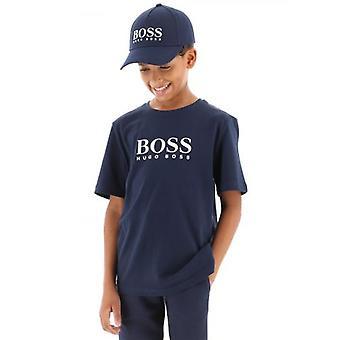 BOSS Kids Navy Logo Cap