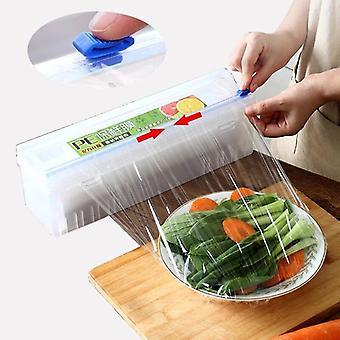34cm Cling Film Cutter Food Wrap Foil Dispenser Kitchen Storage Box Plastic  Dispensers