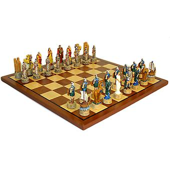 Troy vs Sparta Chess Set W/ Sapele and Maple Board