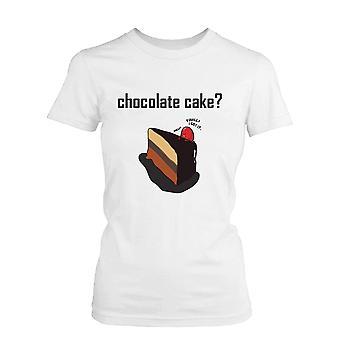 Chokladtårta med jordgubbar kvinnors söt grafisk skjorta humoristiska vit Tee rolig skjorta