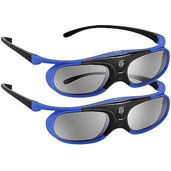 2Pcs Link 3D Brille USB wiederaufladbar für DLP LINK Projektoren Kompatibel (blau)
