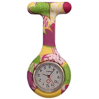 Boolavard® TM Nurses Fashion Coloured Patterned Silicone Rubber Fob Watches - Yellow + Purple