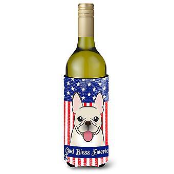 God Bless Amerikaanse vlag met Franse Bulldog wijn fles drank isolator Hugge