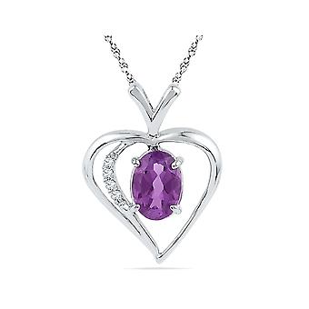 Sterling Silver Heart Pendant Necklace with Lab Created Amethyst 3/4 Carat (ctw)
