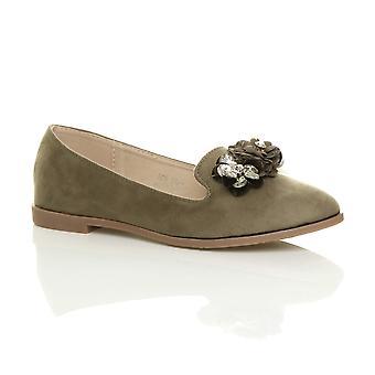 Ajvani kvinners flatt lav hæl blomst diamante perle loafers ballerinaer pumper dolly sko
