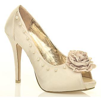 Ajvani womens high heel diamante pearl flower evening peep toe court shoes sandals