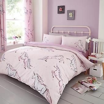 Stelle unicorno Cavalli Piumino reversibile trapunta copertina Polycotton stampato Bedding Set