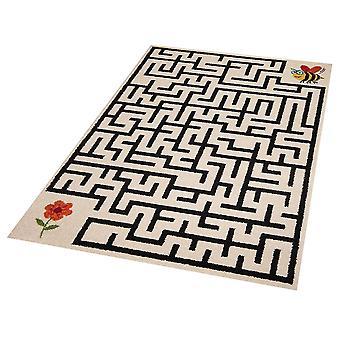 Barn spela matta labyrint bee & blomma 120 x 170 cm