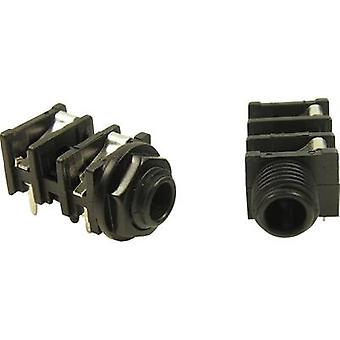 Cliff FCR50051 6.35 mm audio jack Socket, horizontal mount Number of pins: 3 Stereo Black 1 pc(s)