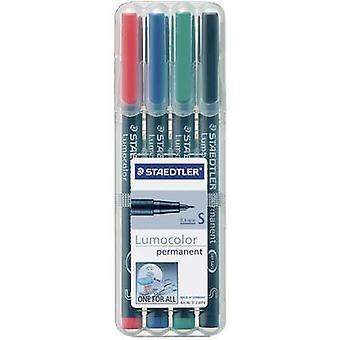 STAEDTLER Lumocolor permanent S DRY SAFE 313 WP4 permanente marker rood, blauw, groen, zwart waterdicht: Ja