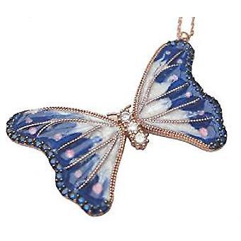 蓝色蝴蝶釉质项链 18 克拉镀金银