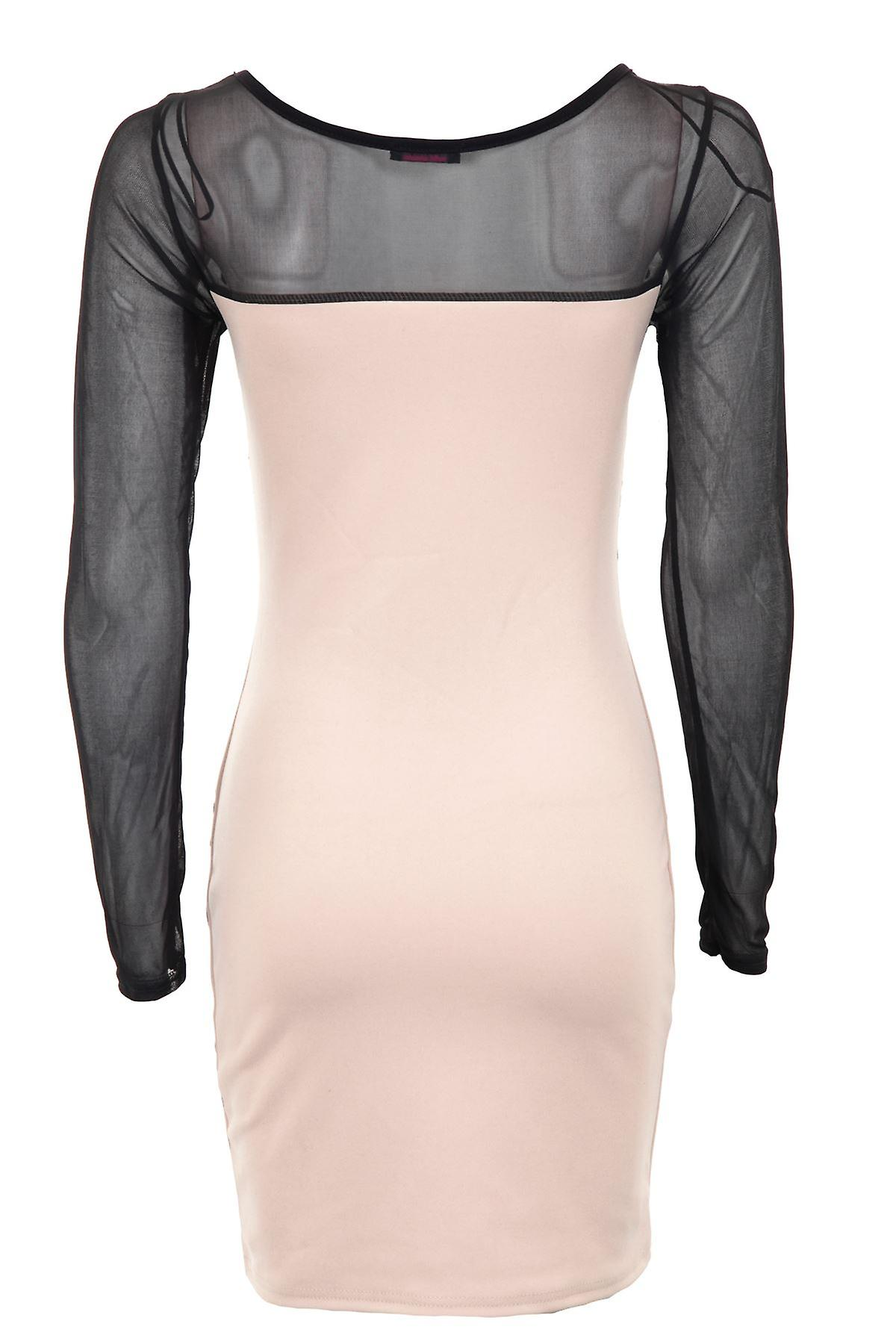 Ladies Long Sleve Mesh Slimming effect Black Brocade Design Bodycon Women Dress