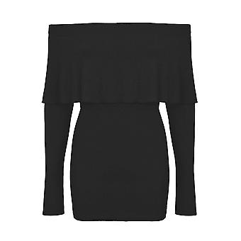 Ladies Bardot Off Shoulder Long Sleeve Ribbed Stretchy Thin Bodycon Top