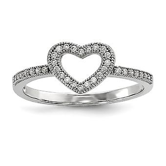 925 Sterling Silver Pave Rhodium plated and CZ Cubic Zirconia Simulated Diamond Brilliant Embers Love Heart Ring Jewelry