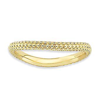 2.25mm 925 sterling sølv teksturert mønstret stables uttrykk polert 14k gull platedwave ring smykker gaver til