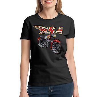 BSA moottoripyörien Britannian lippu naisten musta t-paita