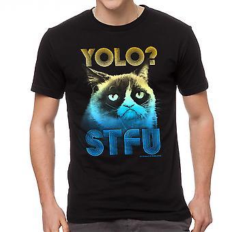Grumpy Cat Yolo mannen zwart grappig T-shirt