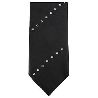 Knightsbridge Neckwear Diagonal Diamante Skinny Tie - Black/Silver