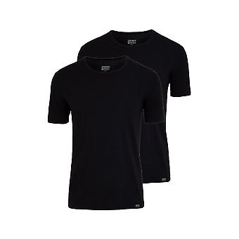 Jockey 2-Pack coton Stretch-col T-Shirts, noir