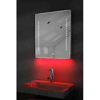 Espelho fino do relógio digital com a iluminação, desmist e sensor k190w