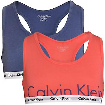 Calvin Klein Girls 2 Pack Modern Cotton Bralette, Calypso Coral / Coastal Fjord, X-Large