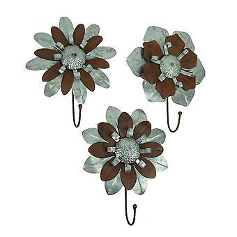 Hak ścienny ocynkowane metalowe kwiat 3 szt.