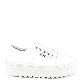 Victoria Shoes Sierra White Canvas Platform Trainer
