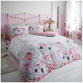 Violet Cottage Roses Duvet Quilt Cover Floral Bedding Set with Pillow Cases