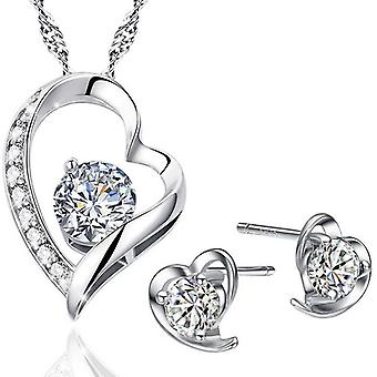 925 Sterling Silver Dazzling Heart With Heart & Heart Set