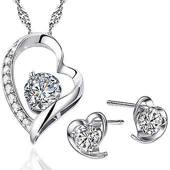 925 Sterling Silver oogverblindende hart met hart & hart set
