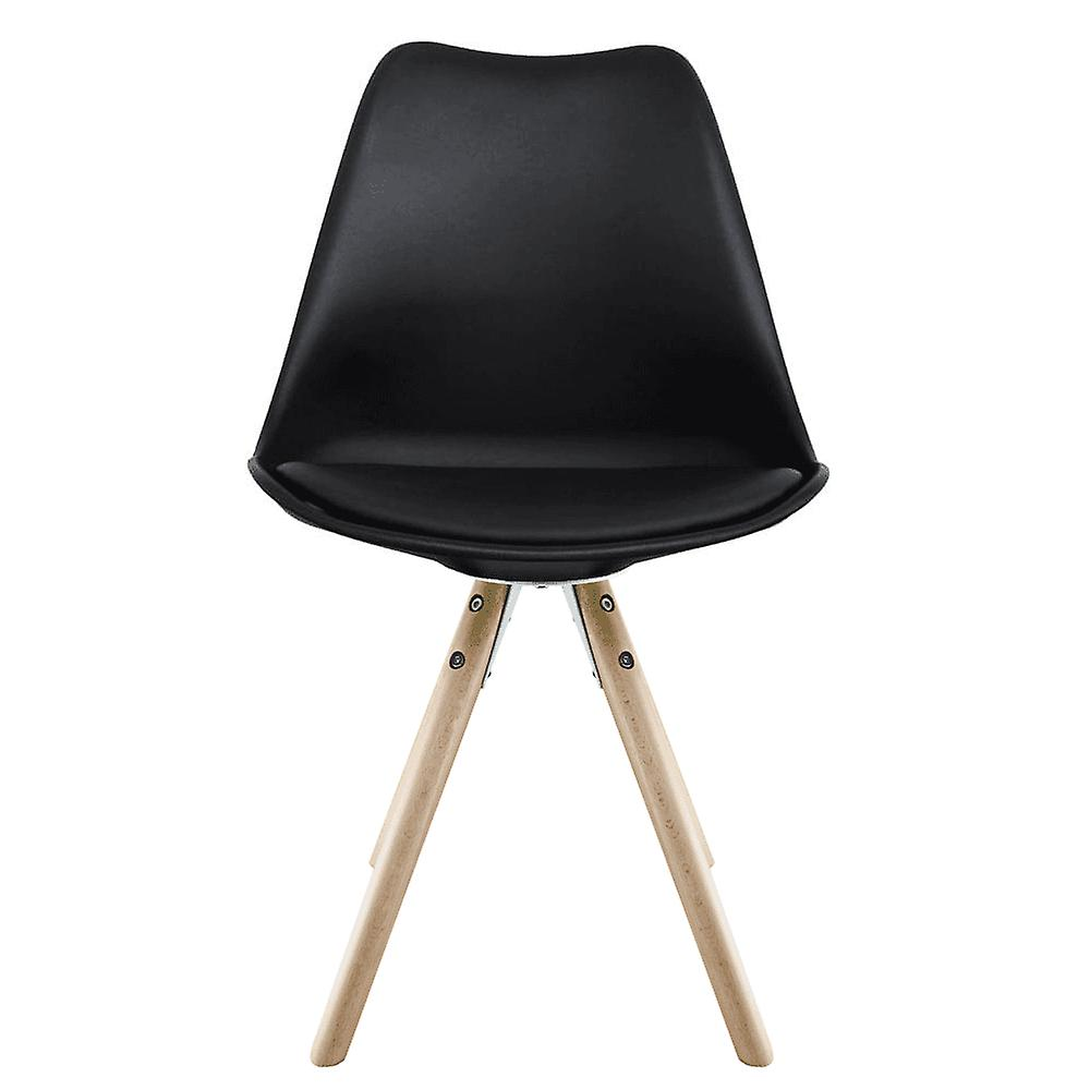 Fusion Living Eiffel Inspired Black Plastic Dining Chair With Pyramid Light Wood Legs