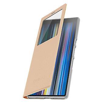 Smart view vindu flip case for Sony Xperia 10, slank deksel – Gull