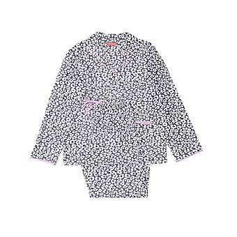 Minijammies 5486 Girl's Laura Grey Mix Animal Print Cotton Pyjama Set